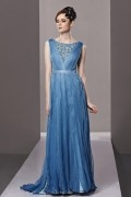 Gorgeous Boat Neck Ruched Lace Tencel Evening Dress