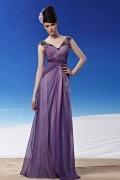 Robe violette ruchée empire ornée de bijoux en tencel