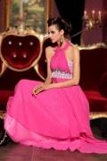 Sexy Neckholder A Linie Empire handgemachte Perlen Spitze rückenfreies Abendkleid aus Tencel