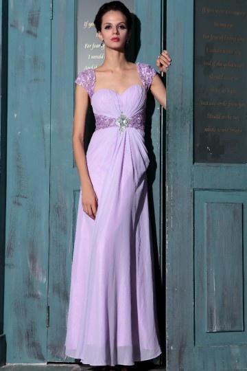 Traumhaftes Carré Ausschnitt A Linie Empire Blumen aus Spitze Chiffon Abendkleid mit kurzen Ärmeln Persunshop