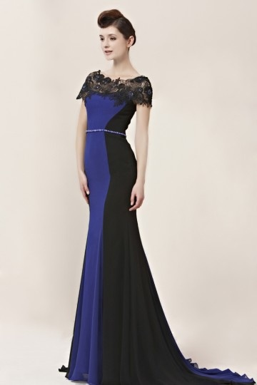 blue and black long formal dress with short sleeves
