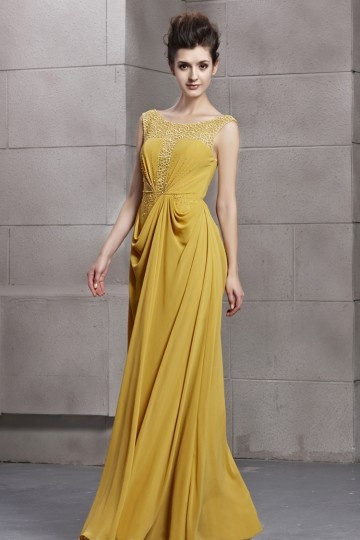 yellow long formal dress