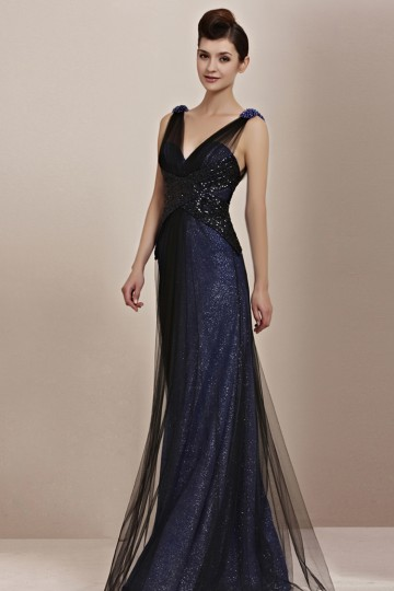 sequined blue long formal dress with straps