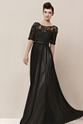 Gorgeous Boat Neck Beading Lace Embroidery Tencel Evening Dress