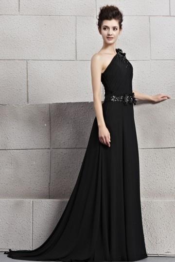Vestido Chiffon de noite preto decote assimétrico
