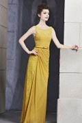 Graceful Beading Lace Boat neck Chiffon Column Long Evening Dress