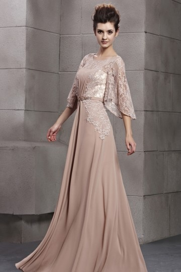 Dressesmall Graceful Scoop Lace Half Sleeves Chiffon Empire A line Long Evening Dress
