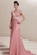 Rose robe en dentelle Empire décolleté en V pailletée