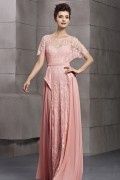 Awesome Lace Scoop Batwing Sleeves Chiffon Empire Long Evening Dress