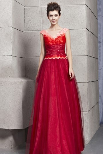 printed red vintage formal evening dress