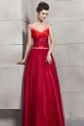 Graceful Beading Short Sleeves V Neck Chiffon Empire A line Long Evening Dress