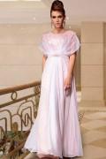 Robe rose longue en mousseline à manche chauve-souris