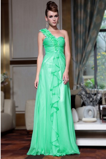Dressesmall Marvellous Chiffon One Shoulder Sequins Flowers Ruffle Beading A line Long Evening Dress