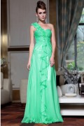 Marvellous Chiffon One Shoulder Sequins Flowers Ruffle Beading A line Long Evening Dress