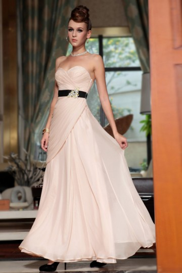 Dressesmall Chiffon Sweetheart Crystal Brooth Ruching A line Long Evening Dress