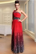 Graceful Chiffon One Shoulder Flowers Beading A line Long Evening Dress