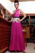 Chiffon One Shoulder Lace Flowers Beading Ruching A line Long Evening Dress