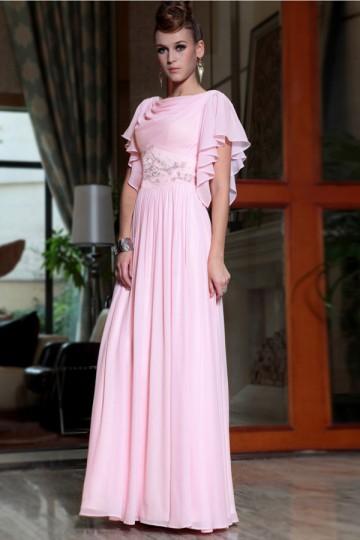 Rosa Vestido em Chiffon decote drapeado com manga curta