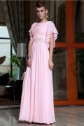 Chiffon Boat neck Embroidery Beadings Ruffle A line Long Evening Dress