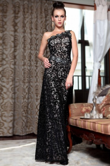 Dressesmall Chiffon One Shoulder Lace Applique Beading A line Long Evening Dress