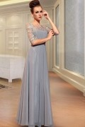 Vintage Chiffon Boat neck Embroidery Ruching A line Long Evening Dress