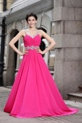 A line V neck Beading Flower Rhinestones Ruching Chiffon Long Formal Dress