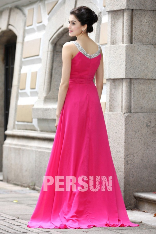 Robe longue rose bonbon plissée col en V avec bretelles strassées