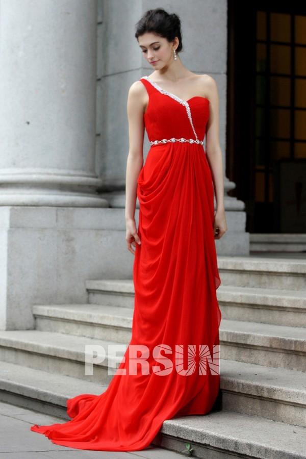 el gante robe de gala rouge asym trique mousseline jupe drap e. Black Bedroom Furniture Sets. Home Design Ideas