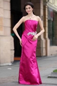 Mermaid Strapless Satin Long Pink Evening Dress