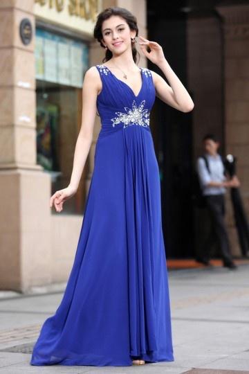 A-Linie V Ausschnitt Empire Chiffon Bodenlang Abendkleid Persun