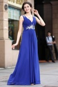 A line V neck Flower Beading Crystal Detailing Ruching Chiffon Long Formal Dress