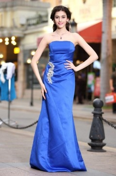 Mermaid Strapless Ruched Floor Length Blue Evening Dress