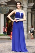 A line Empire Spaghetti Hollow Drilling Pleats Chiffon Long Formal Dress