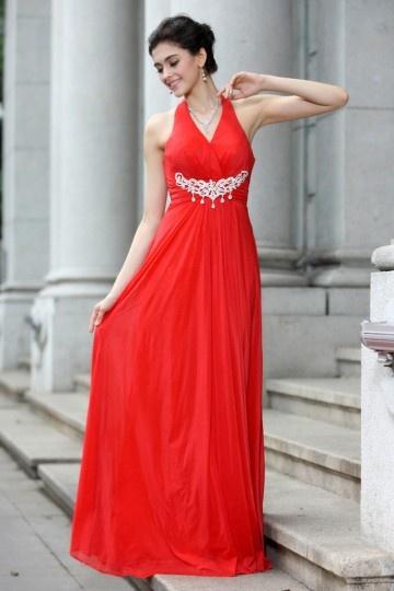 Vestido chique vermelho de noite decote meio Império