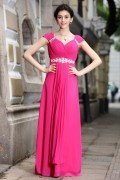 A line Empire V neck Ruching Cap Sleeve Carving Rhinestones Belt Chiffon Long Formal Dress