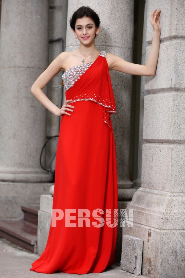 A Line One Shoulder India Style Crystal Detailing Beading Ruffle Chiffon Floor Length Evening Dresses