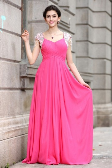 A line Empire Squra Neck Cap Sleeve Beading Tassels Ruching Chiffon Floor Length Evening Dresses