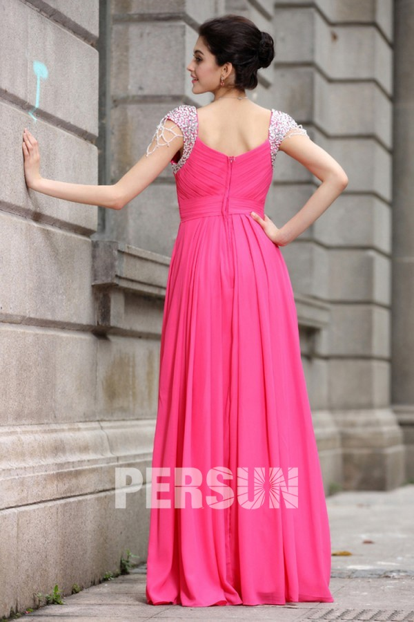 Robe rose fuchsia longue plissée à mancherons bijoutés