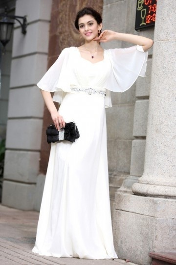 Dressesmall A line Empire Squar Neck Ruffle Half Sleeve Rhinestones Belt Chiffon Long Formal Dress