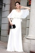 A line Empire Squar Neck Ruffle Half Sleeve Rhinestones Belt Chiffon Long Formal Dress