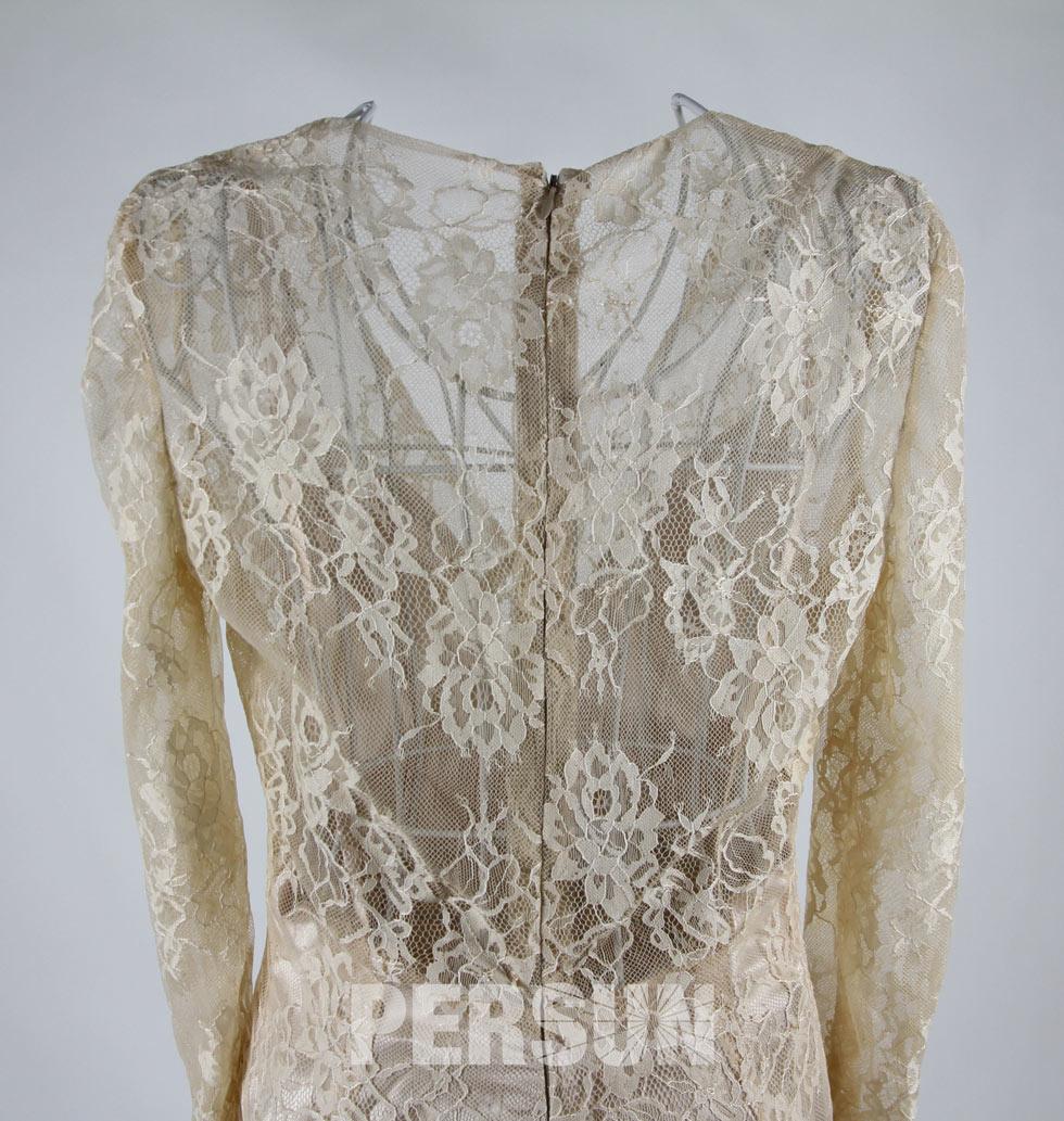 Long Sleeves Lace Celebrity Dress Shoulder