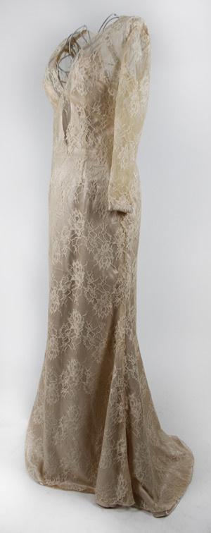 Cara Delevingne Mermaid Deep V neck Long Sleeves Lace Celebrity Dress
