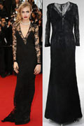 Cara Delevingne Mermaid Deep V neck Long Sleeves Lace Celebrity Dress