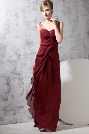 Vestido de noite vermelho um ombro pregueado