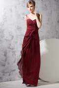 Classic Chiffon One Shoulder Colourful Beadings Ruffle A line Long Evening Dress