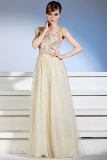 lace embroidery gold long evening dress