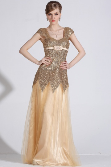 Elegant Gold Bodenlang A Linie Tüll Abendkleid mit Sequins verziert Persun