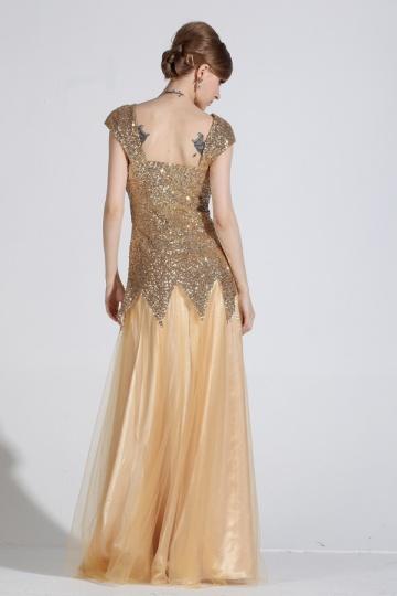 Günstig Elegant Gold Bodenlang A Linie Tüll Abendkleid mit ...