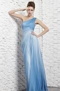 Robe longue empire ruchée ornée de perles mousseline bleue