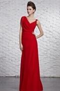 Robe rouge chic col V ruchée ornée de perles en mousseline